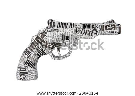 newspaper pistol isolated on white - stock photo