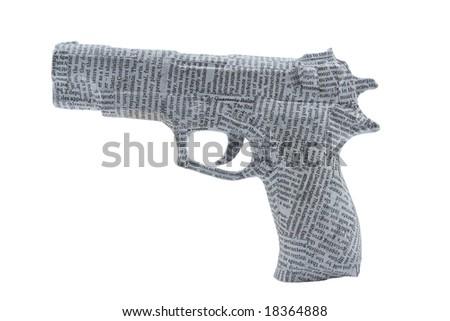 newspaper pistol on white background. fake - stock photo