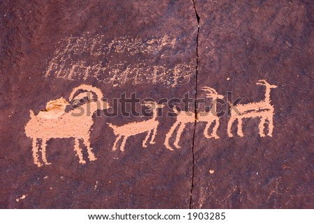 Newspaper rock in Canyonlands national park, ancient indian art in America - stock photo