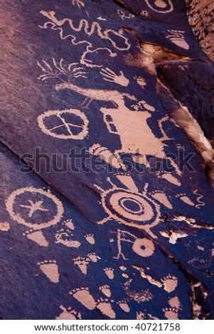 Newspaper Rock State Historic Park, Utah. Petroglyph representing the Anasazi, Navajo, and Fremont native tribes. - stock photo