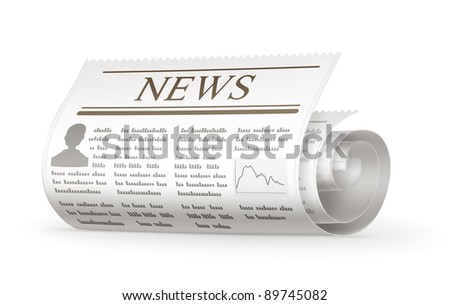 Newspaper rolled, bitmap copy - stock photo