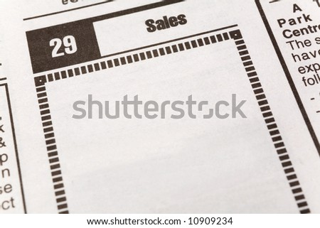 newspaper Sales ad,  Business concept - stock photo