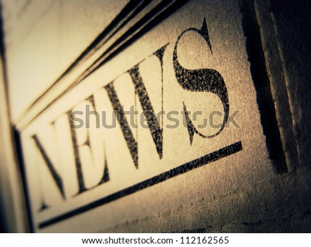 Newspaper. Selective focus. - stock photo