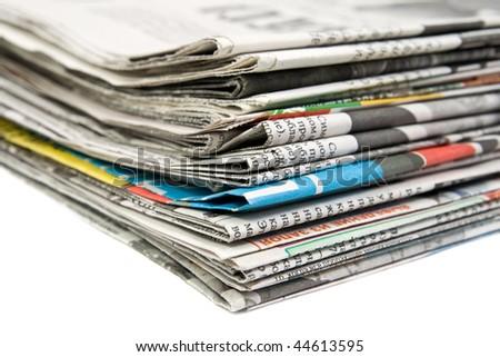 Newspaper stack - stock photo