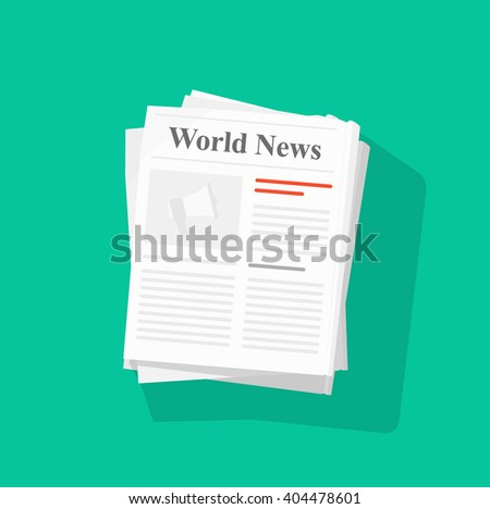 Newspaper stack illustration, news paper pile front page top view abstract text articles and headlines, world news, daily paper rolled, journal heap, magazine flat icon design isolated on green image