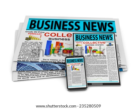 Newspaper, tablet and smartphone with business news on screen. - stock photo