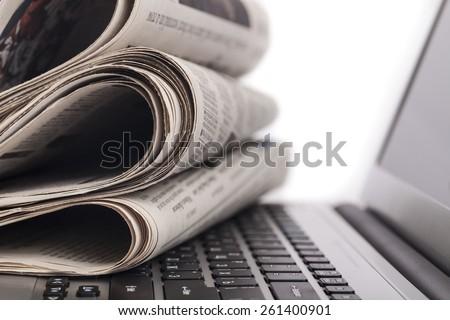 Newspaper, The Media, E-Mail. - stock photo