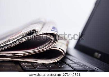 Newspaper, The Media, Historic World Event. - stock photo