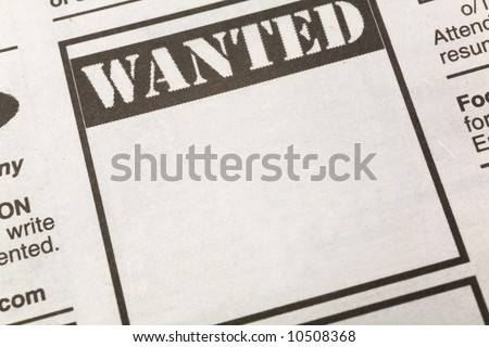 newspaper Wanted ad, Employment concept
