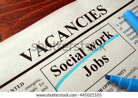 Newspaper with ads social work jobs vacancy.