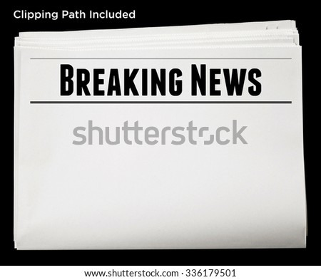 Newspaper with Breaking News Headline and Blank Content Isolated with Clipping Path. - stock photo