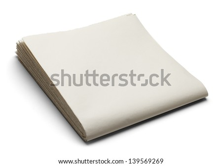 Newspaper with Copy Space Isolated on White Background. - stock photo
