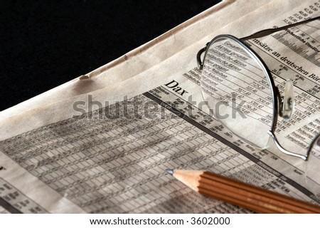 Newspaper with German Stock Market - stock photo