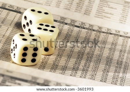 Newspaper with German Stock Market and dice - stock photo