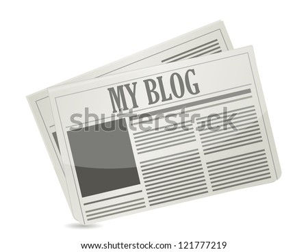 newspaper with my blog text illustration design over white