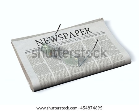 Newspaper with the headline Newspaper - 3d rendering