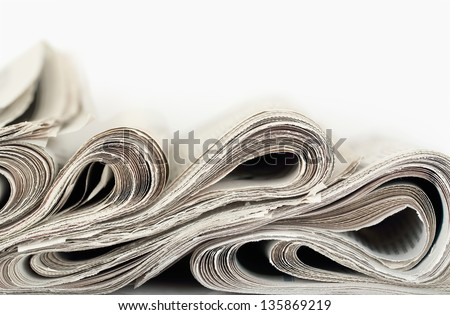 newspapers abstract formation closeup - stock photo
