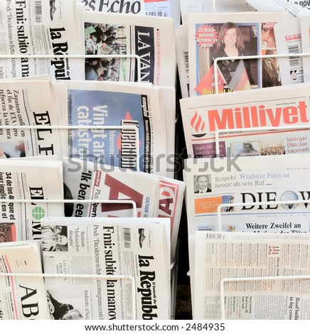 Newspapers from around the world - stock photo