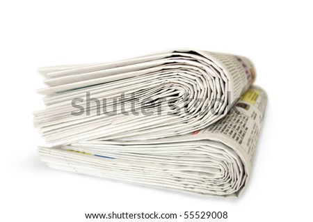 newspapers isolated in white