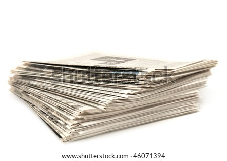 newspapers isolated on a white - stock photo