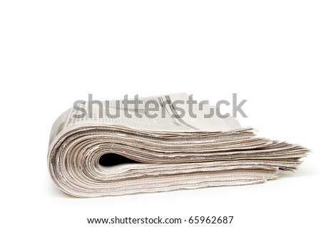 newspapers isolated on white - stock photo