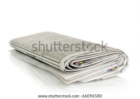 newspapers isolated on white and reflection - stock photo