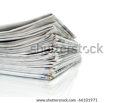 newspapers isolated on white and reflection