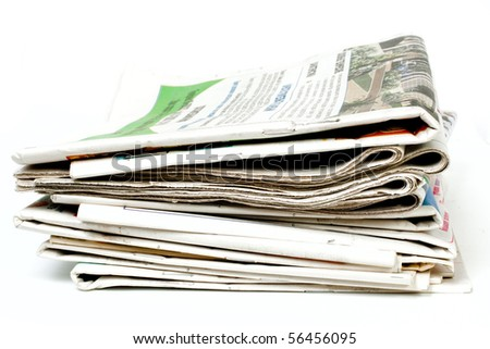 Newspapers isolated on white background - stock photo