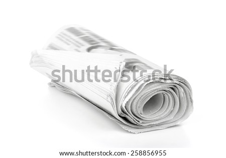 Newspapers stack  isolated  on white background