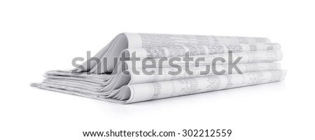 Newspapers stack on white background - stock photo