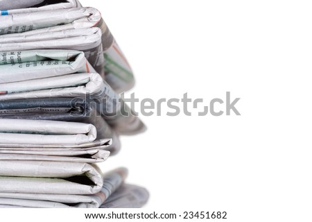 Newspapers stockpile - stock photo