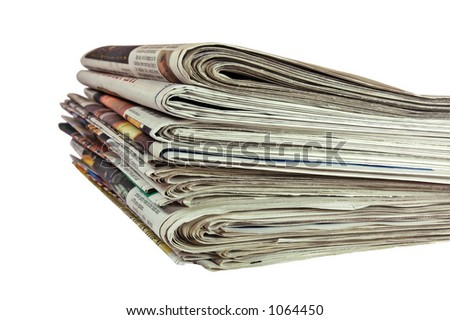 Newspapers (with clipping path) - stock photo