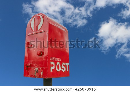 NEWSTEAD, VICTORIA, AUSTRALIA - April 27, 2016: Australia Post is scaling back its daily door-to-door delivery service and is increasing digital mailboxes and 24-hour parcel deliveries - stock photo