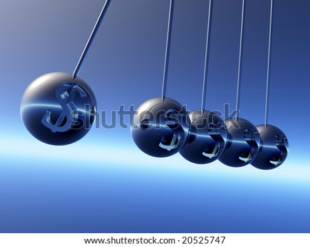 Newton cradle pendulums with Dollar?s Symbole - stock photo
