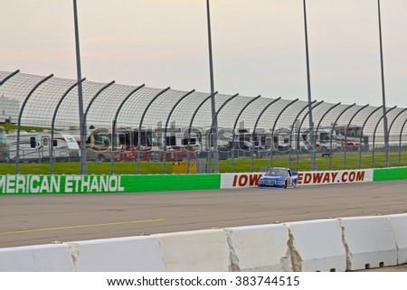 Newton Iowa, USA - July 11, 2014: NASCAR Camping World Truck Series, American Ethanol 200. Iowa Speedway. 19 Tyler Reddick, Ford, Brad Keselowski Racing - stock photo