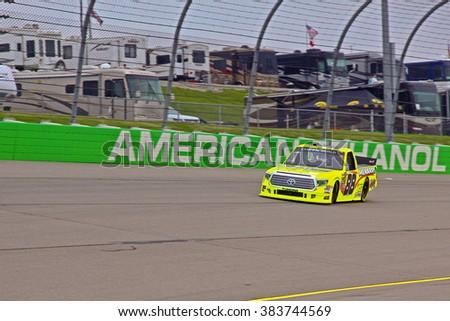 Newton Iowa, USA - July 11, 2014: NASCAR Camping World Truck Series, American Ethanol 200. Iowa Speedway. 88 Matt Crafton, Toyota, ThorSport Racing - stock photo