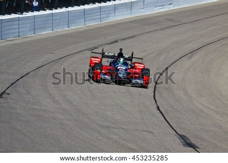 Newton, Iowa USA - July 9, 2016: Verizon IndyCar Series Iowa Corn Indy 300. Race drivers and teams practice before the race. Graham Rahal #15, Rahal Letterman Lanigan Racing, Mi-Jack