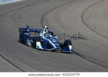 Newton, Iowa USA - July 9, 2016: Verizon IndyCar Series Iowa Corn Indy 300. Race drivers and teams practice before the race.Max Chilton #8, Chip Ganassi Racing, Gallagher