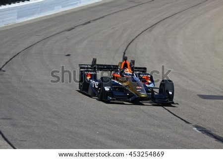 Newton, Iowa USA - July 9, 2016: Verizon IndyCar Series Iowa Corn Indy 300. Race drivers and teams practice before the race. James Hinchcliffe #5, Schmidt Peterson Motorsports, Arrow