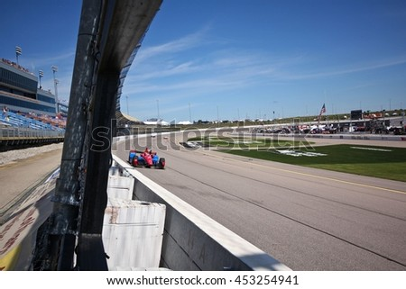 Newton, Iowa USA - July 9, 2016: Verizon IndyCar Series Iowa Corn Indy 300. Race drivers and teams practice before the race. Mikhail Aleshin #7, Schmidt Peterson Motorsports, SMP Racing