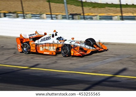 Newton, Iowa USA - July 9, 2016: Verizon IndyCar Series Iowa Corn Indy 300. Race drivers and teams practice before the race.  Juan Pablo Montoya #2, Team Penske, DeVilbiss