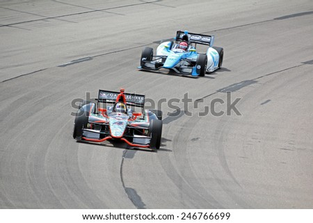 Newton Iowa, USA - June 23, 2013: Indycar Iowa Corn 250 race Iowa Speedway Oriol Servia