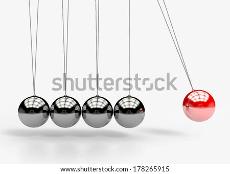 Newton's Cradle. balancing balls. 3d illustration - stock photo