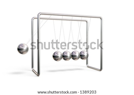 Newton's cradle in action (motion blur) isolated on a white background - stock photo