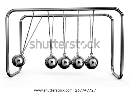Newton's Cradle isolated on white background - stock photo
