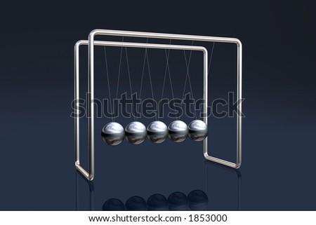 Newton's cradle on a dark reflective background - stock photo
