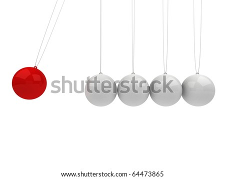 Newton's cradle, red and white - stock photo