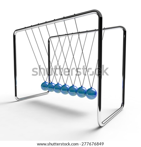 Newton's cradle with blue colored balls suspended from metal frame on a white background - stock photo