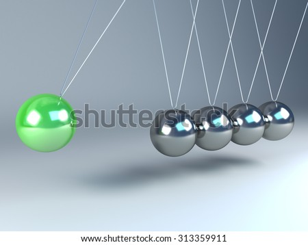 Newton's cradle with one green ball and four chrome balls. - stock photo