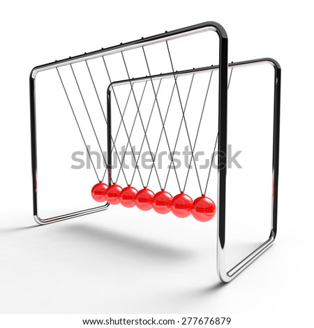 Newton's cradle with red colored balls suspended from metal frame on a white background - stock photo